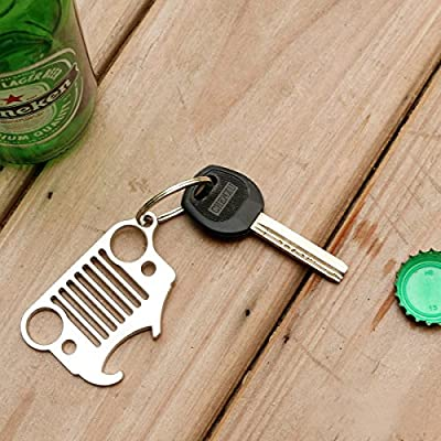 Nuoxinus Car Key Chain Ring, Cool Grill Keychain & Bottle Opener with Laser-Cut 304 Stainless Steel for Jeep Wrangler, Men, Women, Driver, Automotive Enthusiasts (Silver): Automotive