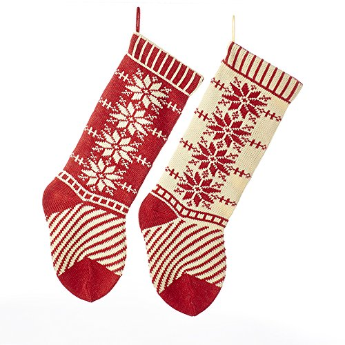 Kurt Adler Red and Ivory Heavy Knit Snowflake and Stripe Stockings 2 Assorted ()