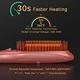 Ionic Hair Straightener Brush by COOLKESI, 30s Fast MCH Ceramic Heating Hair Straightening Brush with Anti Scald Feature, Auto-Off Dual Voltage, Frizz-Free Silky Straightening Comb