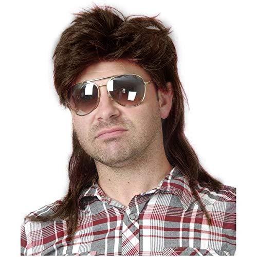 Baruisi 80s Men's Mullet Wig Brown Cosplay