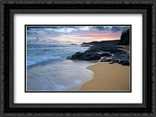 USA, Hawaii, Kauai Secret Beach at Dawn 2X Matted 24x18 Black Ornate Framed Art Print by Flaherty, Dennis