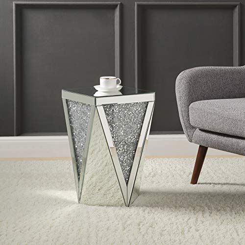Mirrored Side Table, Modern Crystal Diamond end Table, Mirror Accent Nightstand, Silver from Mireo Fine Furniture
