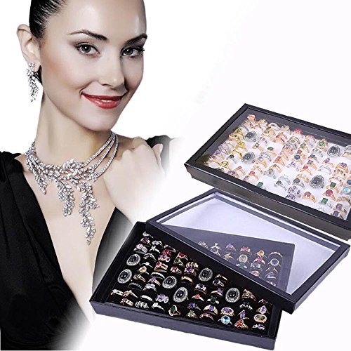 ZLY Jewelry Rings Display Tray Velvet 100 Slot Case Box Jewelry Storage (Slot Foam)