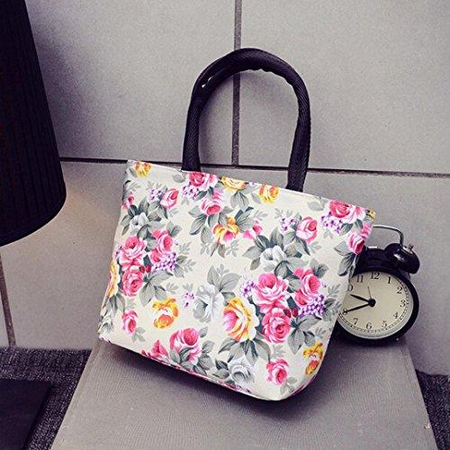 Bolsos Para mujer, RETUROM Flor de las mujeres impresas bolsa de compras de lona blanco