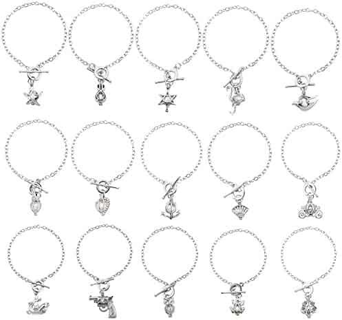 e0cdeec3b HENGSHENG 15 PCS Bracelet Sets Pearl Oyster Fitting with 1 PC Real Oval  Pearl in Pendant