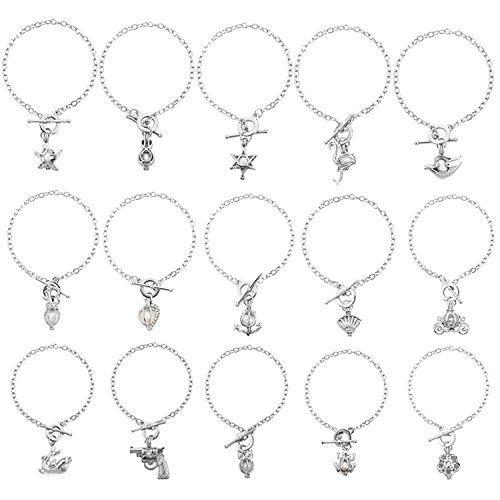 HENGSHENG 15 PCS Bracelet Sets Pearl Oyster Fitting Locket with 1 PC Real Freshwater Pearl in Charm Pendant (cpsl004) (15 ()