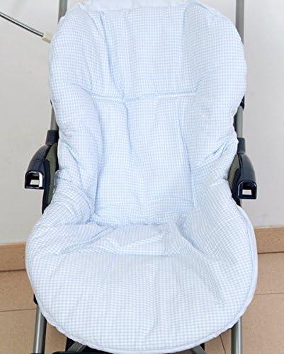 Colchoneta para silla de paseo reversible rayas y cuadros celeste ...