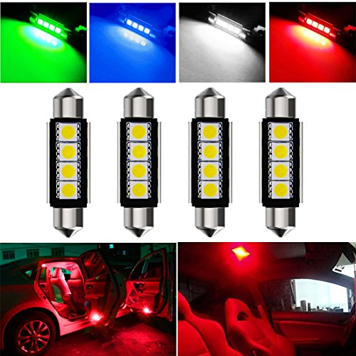 Botepon 4Pcs 211-2 212-2 578 LED Festoon Bulb 42mm 5050 3SMD Canbus Error For Car interior Dome/Map/Trunk/License Plate Light Red (Red Led Lights Dome)