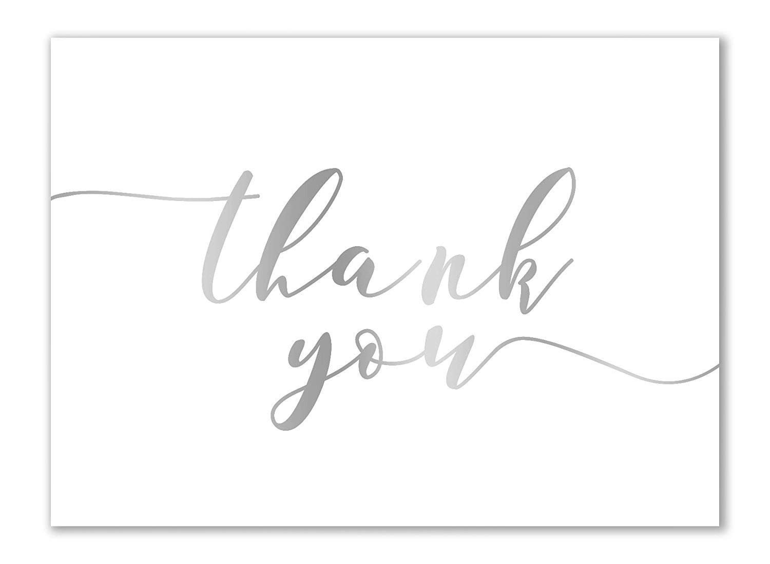 Thank You Cards - 120-Pack Thank You Notes, Gradient Handwritten Design, Bulk Cards Set for Wedding, Baby Shower, Birthday, Blank on the Inside, Includes Envelopes, White, 3.75 x 5 Inches