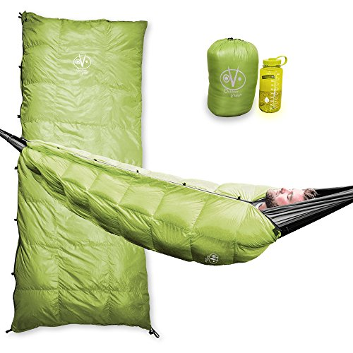 Outdoor Vitals Aerie 20°F Down Underquilt / Sleeping Bag, Use As Ultralight Underquilt, Sleeping Bag, Or Double Bag (Green 20° F, Regular)