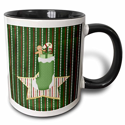 3dRose Beverly Turner Christmas Design - Stocking Filled with Gingerbread boy, Candy Cane, and Present on Star - 15oz Two-Tone Black Mug ()