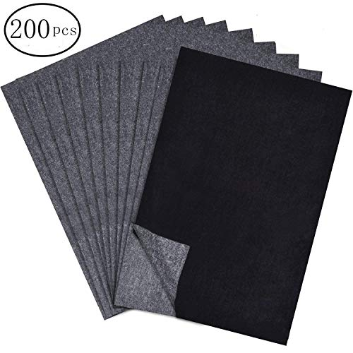 200 Sheets Carbon Paper Black Carbon Transfer (21 x 30 cm) Tracing Paper for Wood, Paper, Canvas and Other Art Surfaces (Balck)
