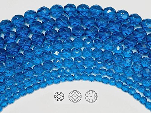 6mm (204 beads) Capri Blue, Czech Fire Polished Round Faceted Glass Beads, 3x16 inch strand
