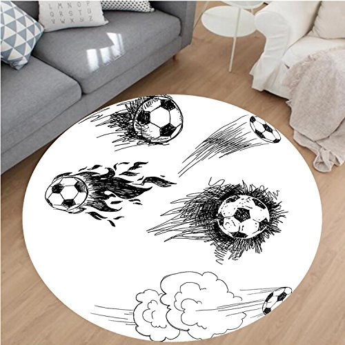 Nalahome Modern Flannel Microfiber Non-Slip Machine Washable Round Area Rug-Round Soccer Balls in Air Fast Kick Shoot in Flame Kickoff Space Artsy Sketch Black White area rugs Home Decor-Round 67'' by Nalahome