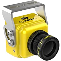 FPV Camera Caddx Turbo S1 FPV Came 1/3 CCD 600TVL 2.3mm IR Blocked NTSC DC 5V-40V Wide Voltage Yellow for FPV Racing Drone by Crazepony