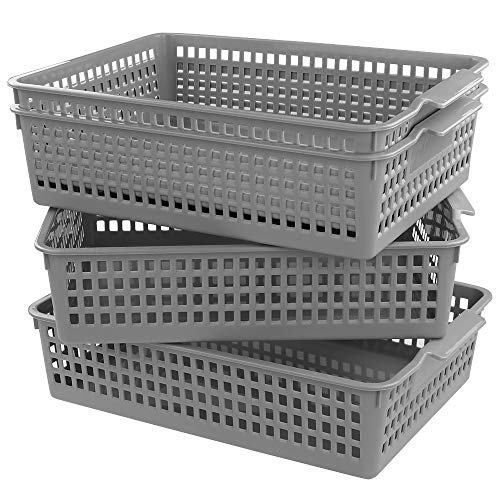 - Doryh Plastic Basket Organizing for Files, Letter, Grey Office Kitchen Organizer, 4 Packs