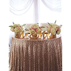 ShinyBeauty 60 Inch Round Copper Sequin Tablecloth, Party Weddding Catering Decoration.