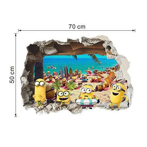 PerfectPrice 3D Wall Sticker Cute Yellow On Holiday Window Baby Kids Room Bedroom Decoraton Decals Art