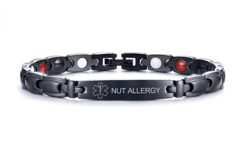 VNOX 4 in 1 Stainless Steel NUT ALLERGY Medical Symbol Magnetic Therapy Health Care Adjustble Bracelet