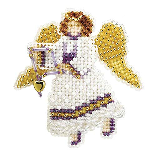 (Snow Angel Beaded Counted Cross Stitch Christmas Ornament Kit Mill Hill 2007 Winter Holiday MH18-7306)