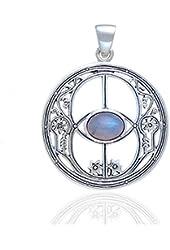 Sacred Chalice Well Symbol of Avalon in Glastonbury Genuine Rainbow Moonstone Sterling Silver Pendant