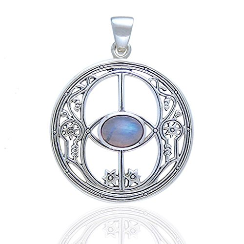 Sacred Chalice Well Symbol of Avalon in Glastonbury Genuine Rainbow Moonstone Sterling Silver Pendant