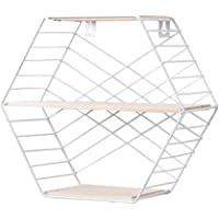 Estantes De Pared De Metal Hexagonal De Madera