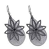 Statement Women Hollow Flower Matte Drop Dangle Hook Earrings Party Jewelry - Black