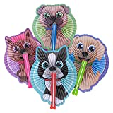 Puppy Fans Paper Folding Fans - 24 PK and 1 Triangle Eraser - Dog Party Supplies, Puppy Party Favors, Party Decorations, Prizes, Classrooms, Treasure Boxes, Easter Baskets