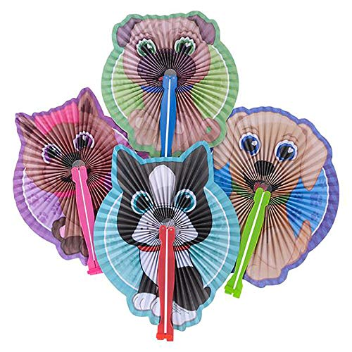 Puppy Fans Paper Folding Fans - 24 PK and 1 Triangle Eraser - Dog Party Supplies, Puppy Party Favors, Party Decorations, Prizes, Classrooms, Treasure Boxes, Easter Baskets -