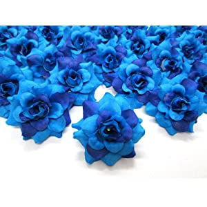 "(100) Silk Two Tone Blue Roses Flower Head - 1.75"" - Artificial Flowers Heads Fabric Floral Supplies Wholesale Lot for Wedding Flowers Accessories Make Bridal Hair Clips Headbands Dress 2"