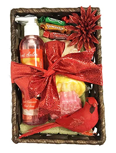 Christmas Gift Basket - Affordable, Thoughtful, Nice - Scented Soap, Wax Melts, Hand Towel, Caramels, More (Apple Cinnamon)