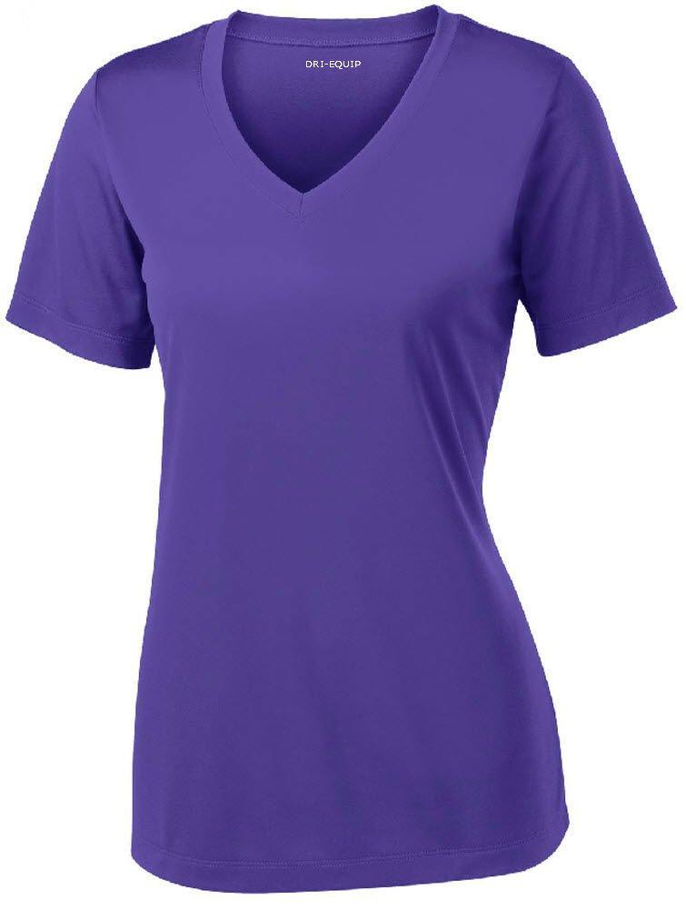 Women's Short Sleeve Moisture Wicking Athletic Shirt-Purple-M by Joe's USA
