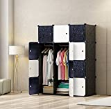 MEGAFUTURE Portable Wardrobe for Hanging Clothes, Wall Décor, Combination Armoire, Modular Cabinet for Space Saving, Ideal Storage Organizer Cube for books, toys, towels(12-Cube)