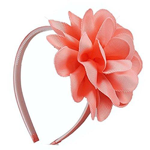 10 pcs Hair Band Ribbon Flower For Girls (peach)