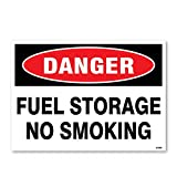 Danger: Fuel Storage No Smoking, 10'' high x 14'' wide, Black/Red on White, Self Adhesive Vinyl Sticker, Indoor and Outdoor Use, Rust Free, UV Protected, Waterproof