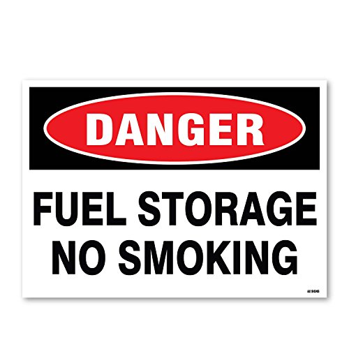 Danger: Fuel Storage No Smoking, 10'' high x 14'' wide, Black/Red on White, Self Adhesive Vinyl Sticker, Indoor and Outdoor Use, Rust Free, UV Protected, Waterproof by AX Signs