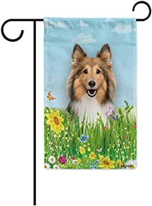 BAGEYOU Hello Spring Floral with My Love Dog Happy Shetland Sheepdog Garden Flag Summer Flower Home Decor Yard Banner for Outside 12.5 x 18 Inch Printed Double Sided
