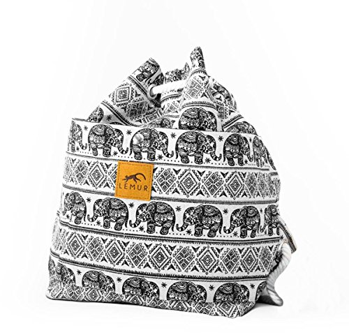Canvas Drawstring Bucket Bag - Shoulder Day Bag, Backpack by Lemur Bags (Elephants) by Lemur Bags