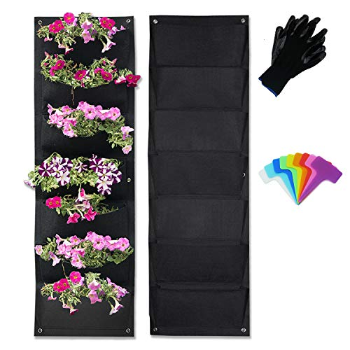 Vertical Garden Hanging Pocket Wall Planters 2 Pack with Bonus Plant Tags & Garden Gloves by Sunflower Home and Garden