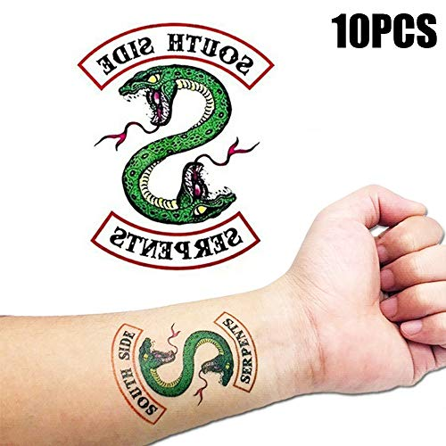 (Temporary Tattoos for Women kids 10 Sheets Cool Fake Tattoos Riverdale Southside Serpents Tattoo Body Sticker Waterproof Hand Neck Wrist Art Fashion for Kids and Adults Men)
