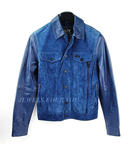 A/X ARMANI EXCHANGE BEST QUALITY BLUE LEATHER & SUEDE JACKET SIZE S BRAND - Price Exchange Armani