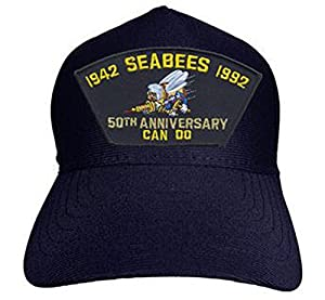 Armed Forces Depot U.S. Navy Seabees 50th Anniversary Cap. Navy Blue. Made in USA