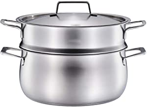food Steamer,Double-layer stainless steel steamer, induction pot with advanced glass cover and polished mirror