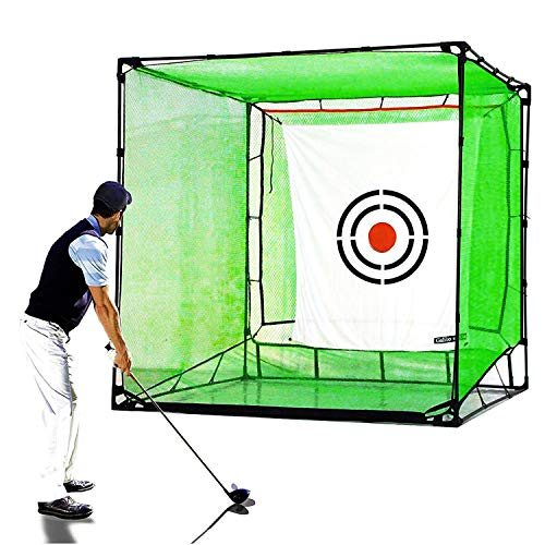 GALILEO Golf Net Hitting Cage Practice Driving Net High Impact Double Back Stop with Target Automatic Ball Return Net for Backyard 7X7X7FT(2.1mX2.1mX2.1m)