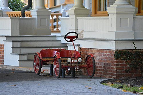 Home Comforts Peel-n-Stick Poster of Red Car Jekyll Island History Poster 24x16 Adhesive Sticker Poster Print