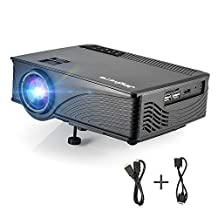2000 Lumens HD Video Projectpr, Joyhero LED Multimedia Portable Home Projector, Support 800 x 480 Pixels HDMI USB for Home Cinema Theater and Video Games, Family Movie Night(Black)
