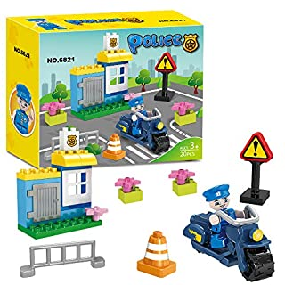 BRICK STORY Police Station Building Blocks Toy Set Police Motorcycle Traffic Sign 20 Pieces Building Bricks Toys for Toddlers Boys and Girls Christmas Birthday Gift 6821
