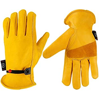 KIM YUAN Leather Work Gloves Grain Cowhide, with Ball and Tape Wrist Closure.For Yard work/Gardening/Farm/Warehouse/Construction/Motorcycle, Men & Women L
