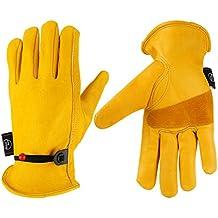Kim Yuan Leather Work Gloves, with Adjustable Wrist, for Yard Work, Gardening, Farm, Warehouse, Construction, Motorcycle, Men & Women Medium